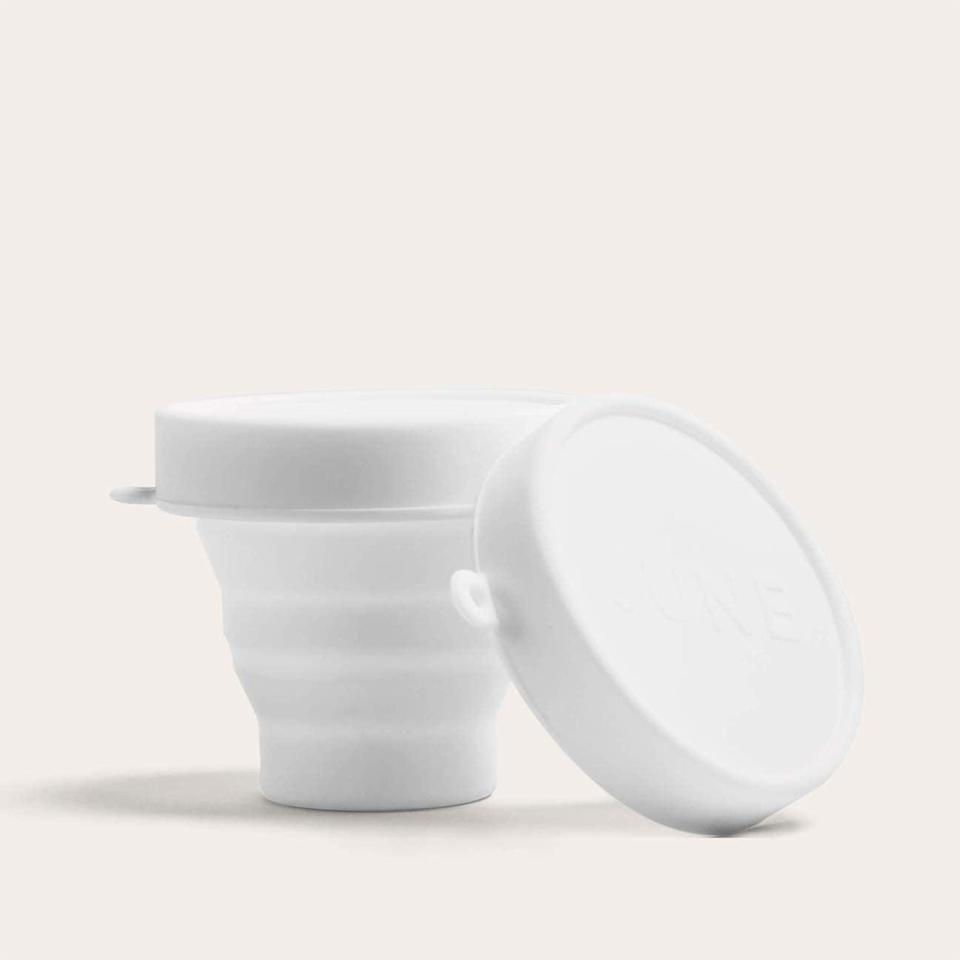 <p>The <span>June The Compact Sterilizer</span> ($9) functions as a collapsible carrying case and a portable sterilizer. To use the compact to clean your cup, all you have to do is pop your cup into the case, pour in boiling water (carefully!) and wait for five minutes. </p>