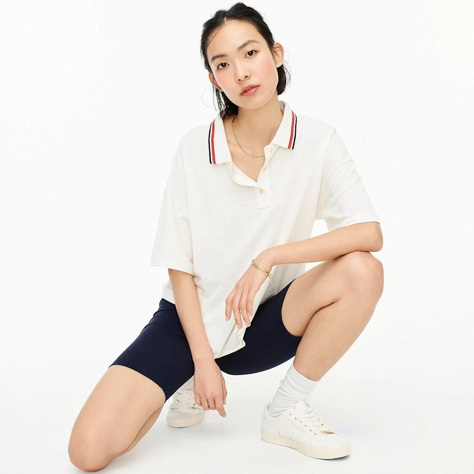 <p>We love a sporty and cool top, which is why this <span>Oversized Piqué Polo T-shirt</span> ($32, originally $70 (plus extra 60% off with code SALETIME) caught our attention. Style them with bike shorts and white sneakers for a laidback everyday look, or dress it up with a tennis skirt and some barely-there sandals.</p>