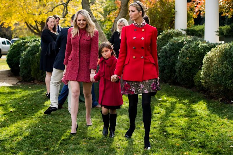 Ivanka Trump with daughter Arabella and sister Tiffany Trump after viewing the pardoned Thanksgiving turkey Drumstick in the Rose Garden. Photo: Getty Images