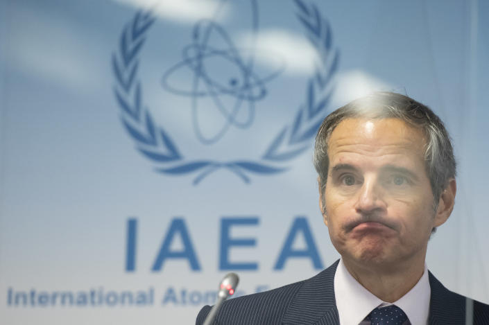 Director General of the International Atomic Energy Agency (IAEA), Rafael Mariano Grossi, attends a press conference during an IAEA Board of Governors meeting at the IAEA headquarters of the UN in Vienna, Austria, Wednesday, Nov. 18, 2020. (Christian Bruna/Pool Photo via AP)