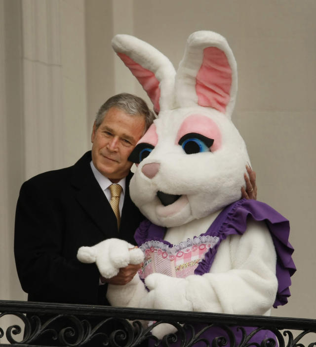 <p>President Bush hugs a person dressed as the Easter bunny at the start of the annual Easter Egg Roll, Monday, March 24, 2008, overlooking the South Lawn of the White House in Washington. (Photo:Gerald Herbert/AP) </p>