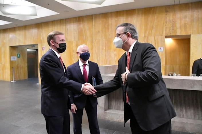 Mexican Foreign Minister Marcelo Ebrard meets U.S. Homeland Security Secretary Alejandro Mayorkas and U.S. national security adviser Jake Sullivan in Mexico City