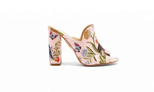 "<p>Aquazurra for de Gournay embroidered mules, $750, <a href=""http://www.matchesfashion.com/us/products/Aquazzura-Aquazzura-for-de-Gournay-embroidered-mules-1162150"" rel=""nofollow noopener"" target=""_blank"" data-ylk=""slk:matchesfashion.com"" class=""link rapid-noclick-resp"">matchesfashion.com</a> </p>"