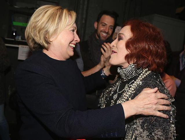 <p>Clinton was ready for her close-up when she chatted with star Glenn Close behind the scenes of <em>Sunset Boulevard </em>on Broadway. (Photo: Bruce Glikas/Bruce Glikas/FilmMagic) </p>