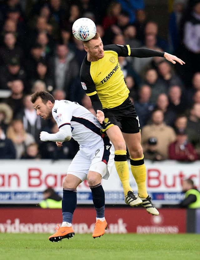 "Soccer Football - Championship - Burton Albion vs Bolton Wanderers - Pirelli Stadium, Burton, Britain - April 28, 2018 Burton Albion's Tom Naylor in action with Bolton Wanderers' Adam Le Fondre Action Images/Paul Burrows EDITORIAL USE ONLY. No use with unauthorized audio, video, data, fixture lists, club/league logos or ""live"" services. Online in-match use limited to 75 images, no video emulation. No use in betting, games or single club/league/player publications. Please contact your account representative for further details."