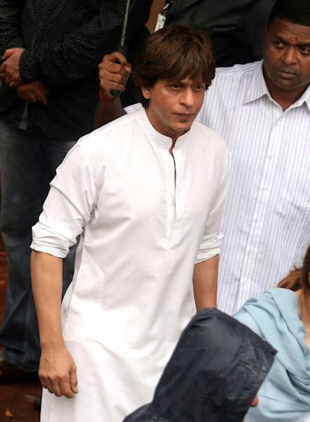 Indian Bollywood actor Shah Rukh Khan attends the funeral