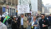Protests in London against remaining UK Covid rules