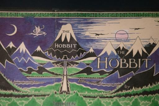 The final cover art on the first edition dust jacket of J. R. R. Tolkien's 'The Hobbit' can be seen at the exhibition