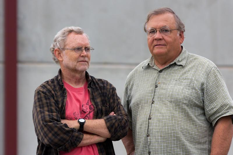 "Ralph Hutchison, left, and Erik Johnson of the Oak Ridge Environmental Peace Alliance stand in front the Blount County jail in Maryville, Tenn., on Friday, Aug. 17, 2012, after meeting with one of three protesters arrested for intruding into Y-12 National Security Complex. Hutchison said the heavy charges against the three protesters, including an 82-year-old nun, reflect a high level of ""embarrassment"" about the incursion. (AP Photo/Erik Schelzig)"