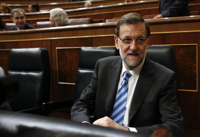 Spain's PM Rajoy attends a weekly cabinet control session at Parliament in Madrid