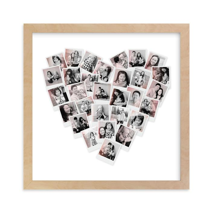 """<p><strong>Minted</strong></p><p>minted.com</p><p><strong>$29.00</strong></p><p><a href=""""https://go.redirectingat.com?id=74968X1596630&url=https%3A%2F%2Fwww.minted.com%2Fproduct%2Fphoto-art%2FMIN-QRV-GCP%2Ffilter-heart-snapshot-mix-photo-art&sref=https%3A%2F%2Fwww.womansday.com%2Flife%2Fg36267034%2Fmothers-day-gift-ideas%2F"""" rel=""""nofollow noopener"""" target=""""_blank"""" data-ylk=""""slk:Shop Now"""" class=""""link rapid-noclick-resp"""">Shop Now</a></p><p>Turn all of her favorite family photos into a work of art. You can choose whether to have it framed or not, as well as the size. </p>"""