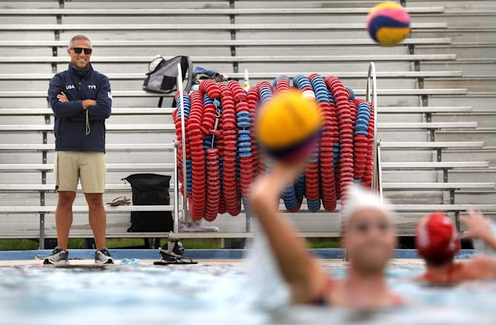 "U.S. women's water polo coach Adam Krikorian conducts practice at Joint Forces Training Base in Los Alamitos. <span class=""copyright"">(Christina House/Los Angeles Times)</span>"