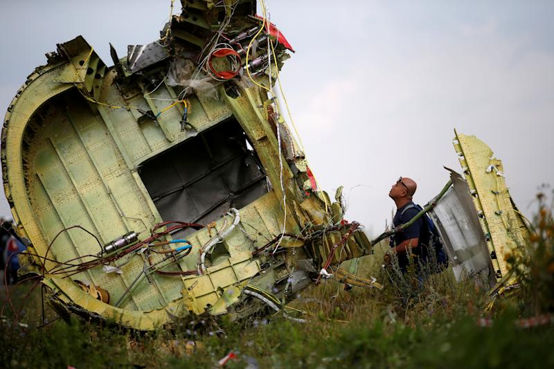Part of the fuselage of the downed MH17.
