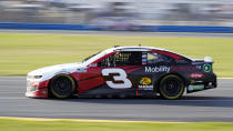 Austin Dillon (3) heads out of a turn during the NASCAR Cup Series road-course auto race at Daytona International Speedway, Sunday, Feb. 21, 2021, in Daytona Beach, Fla. (AP Photo/John Raoux)