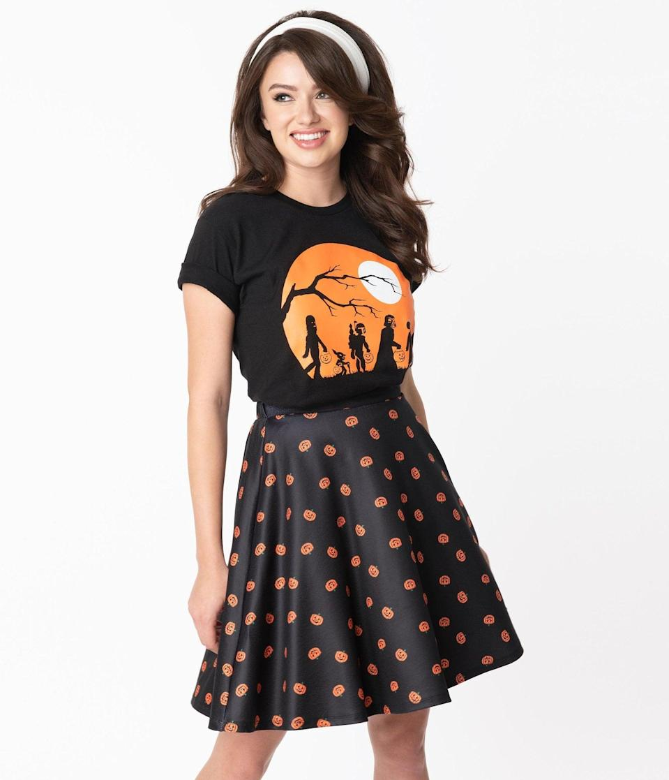 "<p><span>The Haunt Star Wars Unisex Tee</span> ($30) features Darth Vader, Yoda, Chewbacca, Princess Leia, and Boba Fett on a <a class=""link rapid-noclick-resp"" href=""https://www.popsugar.com/Halloween"" rel=""nofollow noopener"" target=""_blank"" data-ylk=""slk:Halloween"">Halloween</a> hunt. </p>"