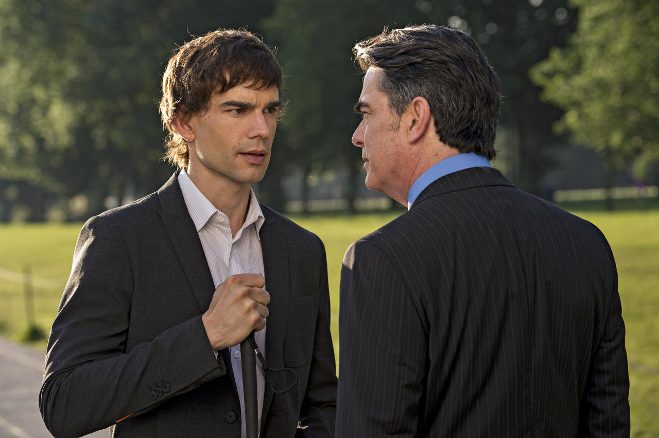 "Christopher Gorham as Auggie Anderson and Peter Gallagher as Aurthur Campbell in the ""Covert Affairs"" Season 4 premiere, ""Vamos."""