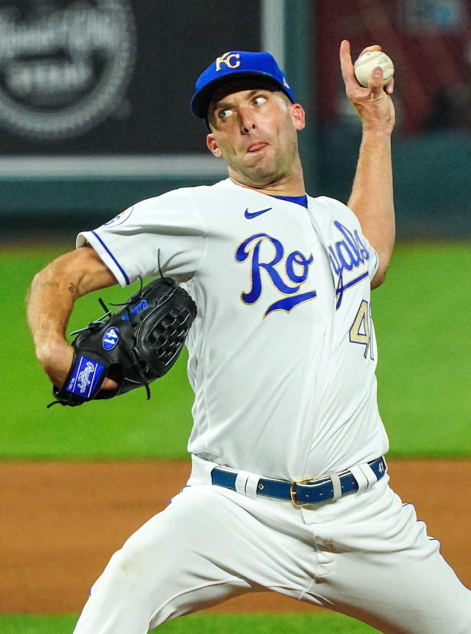 Kansas City Royals relief pitcher Danny Duffy pitches against the Detroit Tigers during the seventh inning Sept. 25, 2020, at Kauffman Stadium.