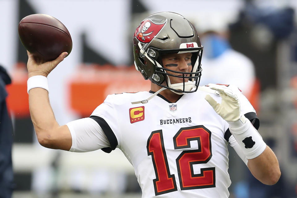 Tampa Bay Buccaneers quarterback Tom Brady (12) threw a pick-six in the first quarter against the Chargers. (AP Photo/Mark LoMoglio)