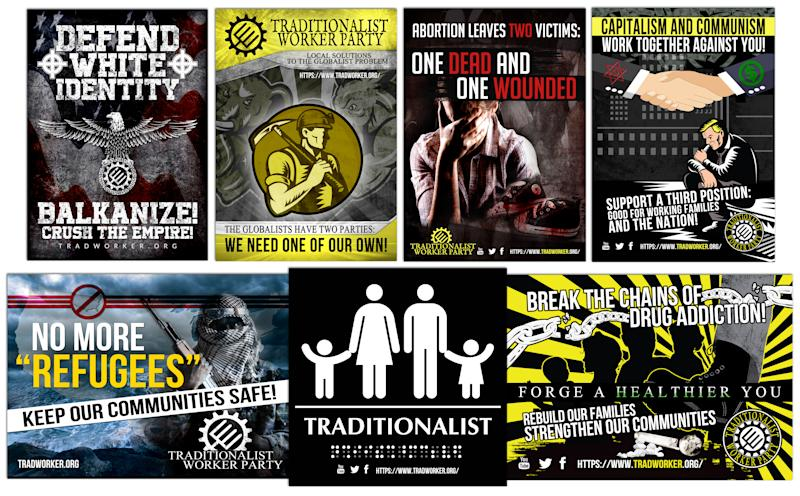 A sampling of propaganda from the Traditionalist Worker Party