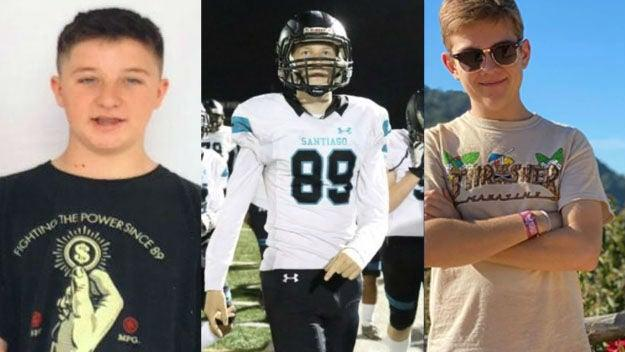 Drake Ruiz, Daniel Hawkins and Jacob Ivascu were killed in the incident, and three other teenagers hurt: CBS/Family photographs