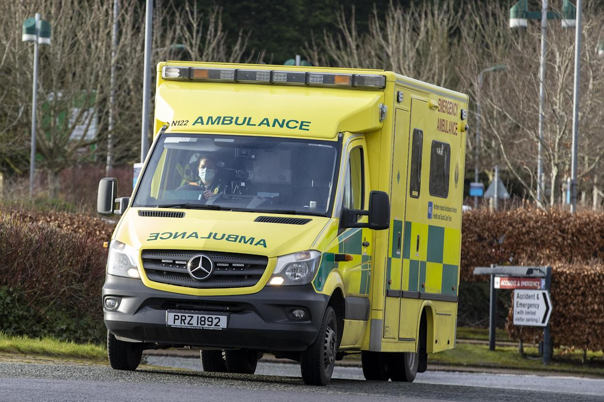 Student EMT Ruth Corscadden driving an ambulance taking a patient to Causeway Hospital in Coleraine, County Londonderry, during her shift for the Northern Ireland Ambulance Service covering the Northern Trust's Hospitals. Picture date: Monday January 18, 2021.