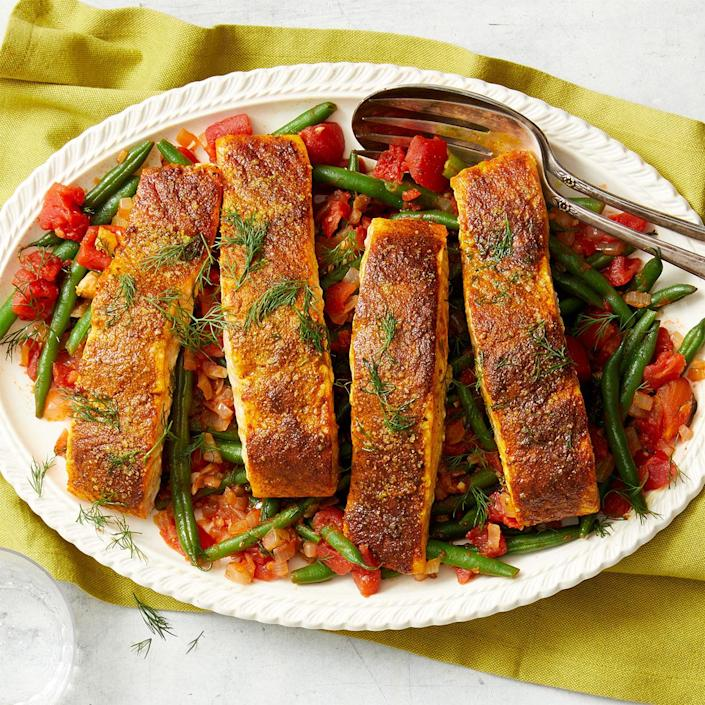 <p>Preparing this spice-seared salmon recipe is a joy for the senses! Rubbing salmon with spices creates a light, delicious main course. Serve this recipe with roasted potatoes or brown rice. If you have leftover salmon, serve it on top of a simple salad for a satisfying lunch the next day.</p>