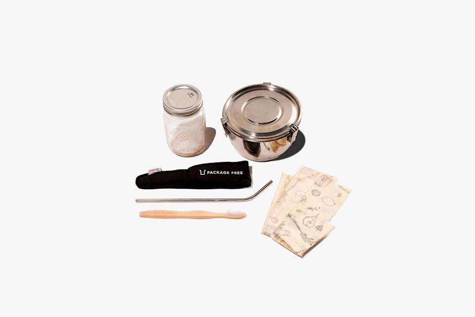 """Right now we're ever more aware of how much waste we create, and for anyone looking to reduce their footprint in 2021, this Zero Waste Starter Pack will start them off strong. It features reusable utensils, a straw and toothbrush, jar and airtight stainless steel container, and beeswax food wrap. $65, Package Free. <a href=""""https://packagefreeshop.com/"""" rel=""""nofollow noopener"""" target=""""_blank"""" data-ylk=""""slk:Get it now!"""" class=""""link rapid-noclick-resp"""">Get it now!</a>"""