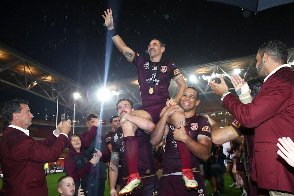 Seen here, Billy Slater is chaired off in his last State of Origin game in Queensland.