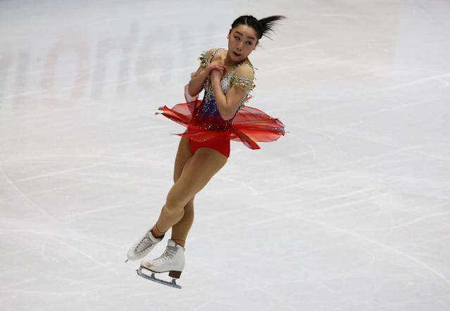 Figure Skating - World Figure Skating Championships - The Mediolanum Forum, Milan, Italy - March 21, 2018 Japan's Wakaba Higuchi during the Ladies Short Programme REUTERS/Alessandro Bianchi