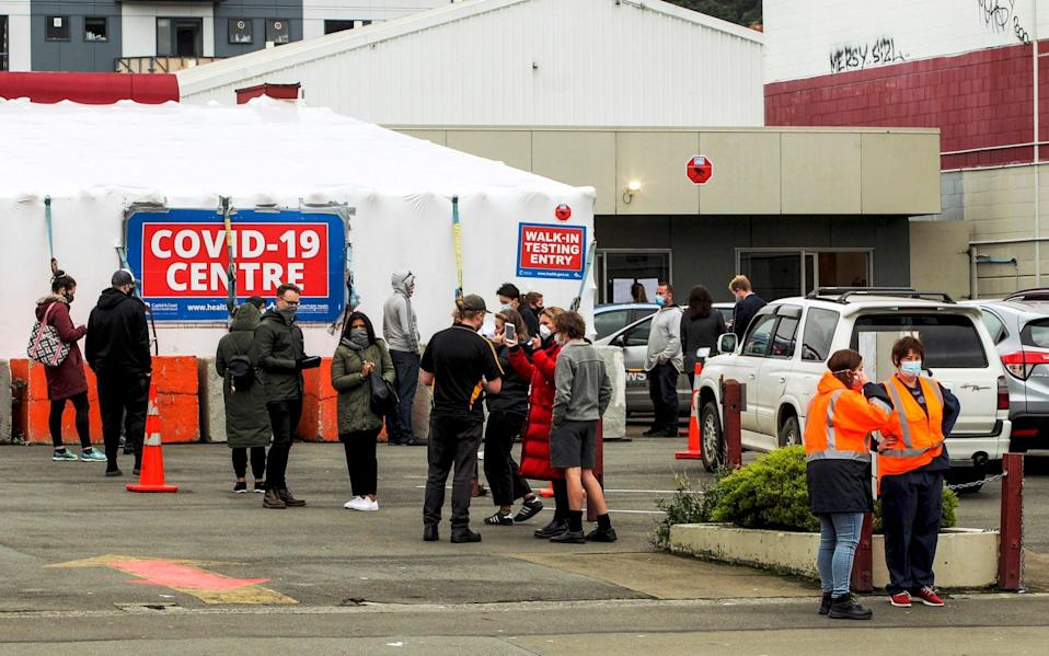 People queue outside a Covid-19 testing station in central Wellington today - Jack Crossland/NZME via AP