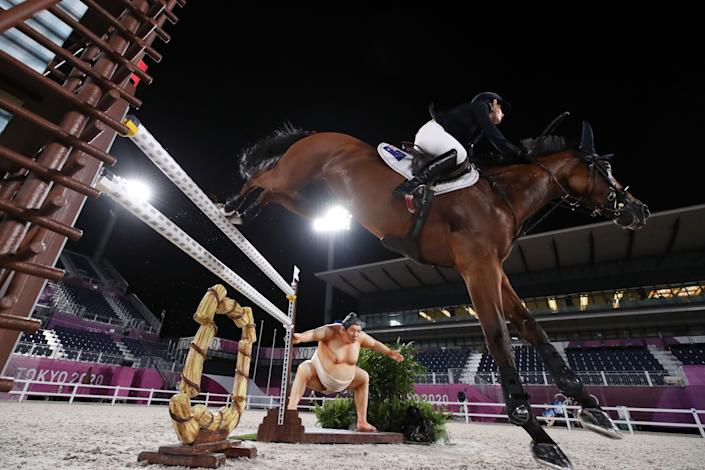 <p>TOKYO, JAPAN - AUGUST 03: Edwina Tops-Alexander of Team Australia riding Identity Vitseroel competes during the Jumping Individual Qualifier on day eleven of the Tokyo 2020 Olympic Games at Equestrian Park on August 03, 2021 in Tokyo, Japan. (Photo by Naomi Baker/Getty Images)</p>