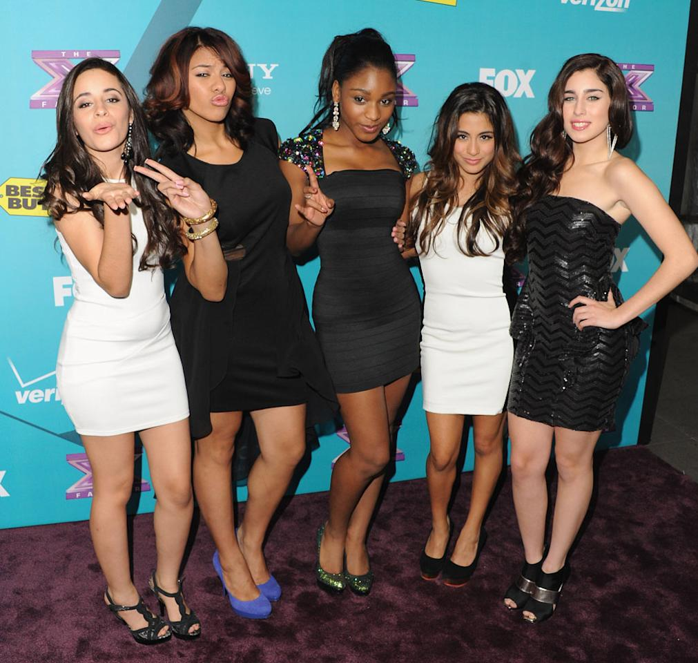 """Ally Brooke, Camila Cabello, Normani Hamilton, Dinah Jane Hansen and Lauren Jauregui of 1432 arrive at Fox's """"The X Factor"""" Finalists Party at The Bazaar at the SLS Hotel Beverly Hills on November 5, 2012 in Los Angeles, California."""