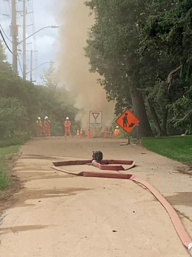 Emergency crews were called to a natural gas leak on Blythe Road in Mississauga on Monday. (Mississauga Fire/Twitter - image credit)