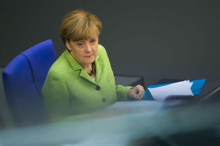 German Chancellor Merkel attends a Bundestag session about the federal budget in Berlin