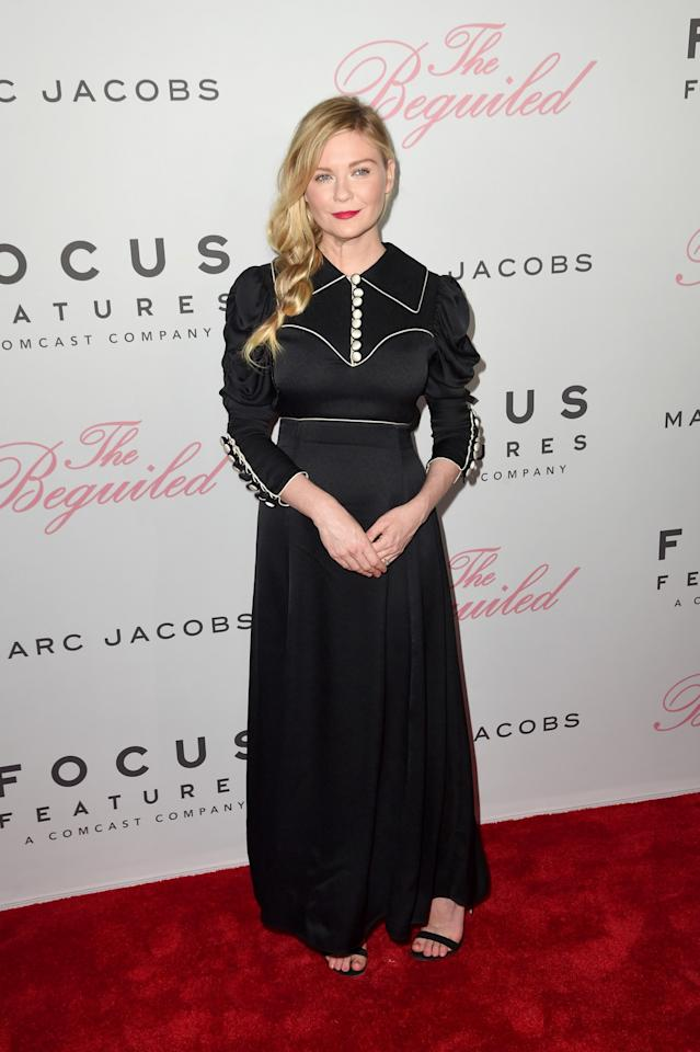 <p>The actress chose a black, satin dress from Gucci for the film's NY premiere.<br /><em>[Photo: Getty]</em> </p>