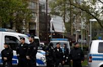 Police set up a cordon outside the Maritim Hotel, the venue of the party congress of Germany's right-wing populist Alternative for Germany (AfD) in Cologne on April 21, 2017