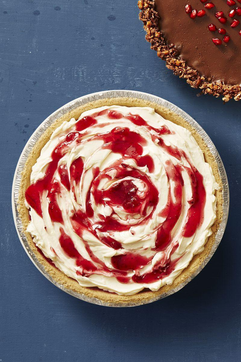 """<p>A cheesecake that only takes 35 minutes to make? Amazing. Whip it up the night before and pull it out in time for dessert the next day. </p><p><em><strong>Get the recipe from <a href=""""https://www.goodhousekeeping.com/food-recipes/a41239/no-bake-cranberry-cheesecake-recipe/"""" rel=""""nofollow noopener"""" target=""""_blank"""" data-ylk=""""slk:Good Housekeeping"""" class=""""link rapid-noclick-resp"""">Good Housekeeping</a>.</strong></em></p>"""