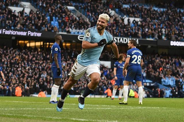 Manchester City's Sergio Aguero scored a hat-trick in a 6-0 thrashing of Chelsea on Sunday (AFP Photo/Oli SCARFF )
