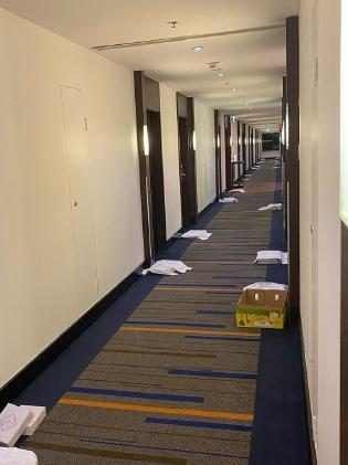 Lyndey shared this snap of the deserted Hilton hallway during quarantine. Photo: Instagram/lyndeymilan.