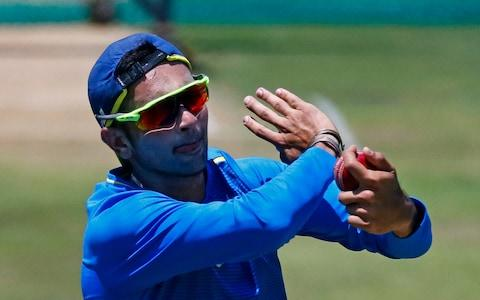 South Africa's bowler Keshav Maharaj prepares to bowl during a team training session at the Supersport Park Cricket Stadium in Centurion - Credit: PHILL MAGAKOE/AFP via Getty Images