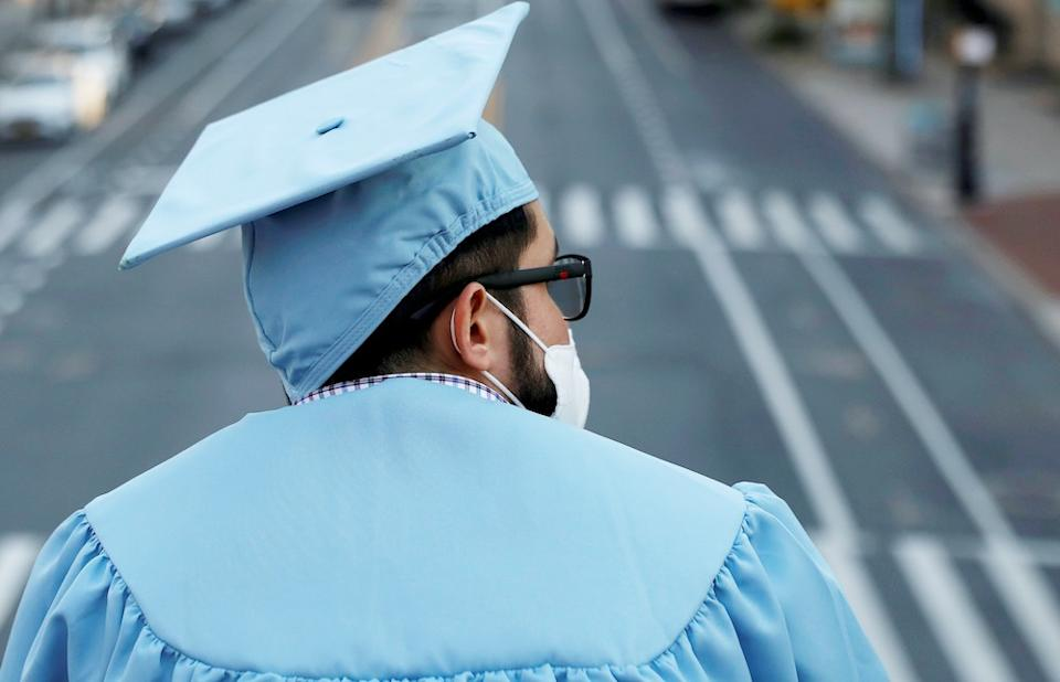 A graduating Masters student from the Columbia University Graduate School of Architecture, Planning and Preservation (GSAPP) in Manhattan, New York City, U.S., May 15, 2020. (Photo: REUTERS/Andrew Kelly)