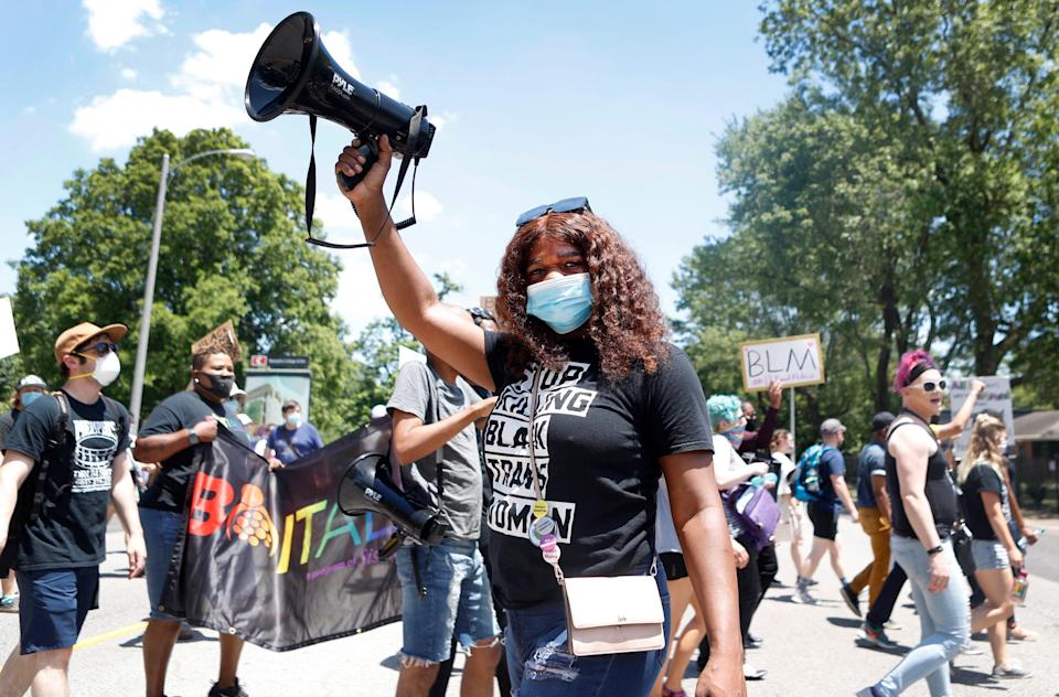 Kayla Gore leads participates in a PRIDE rally that started in Overton Park on Sunday, June 14, 2020 in Memphis, Tenn.  The demonstration was part of the ongoing protests in the city following the killing of George Floyd in Minneapolis on Memorial Day.