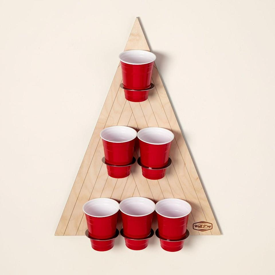 <p>If you they playing beer pong, but don't want to deal with the hassle of setting up the table, the <span>Wall Pong</span> ($60) is perfect for you. This wall-mounted version is a sleek, space-saving option for rec rooms, basements, garages, and more. The first one to sink four cups wins!</p>