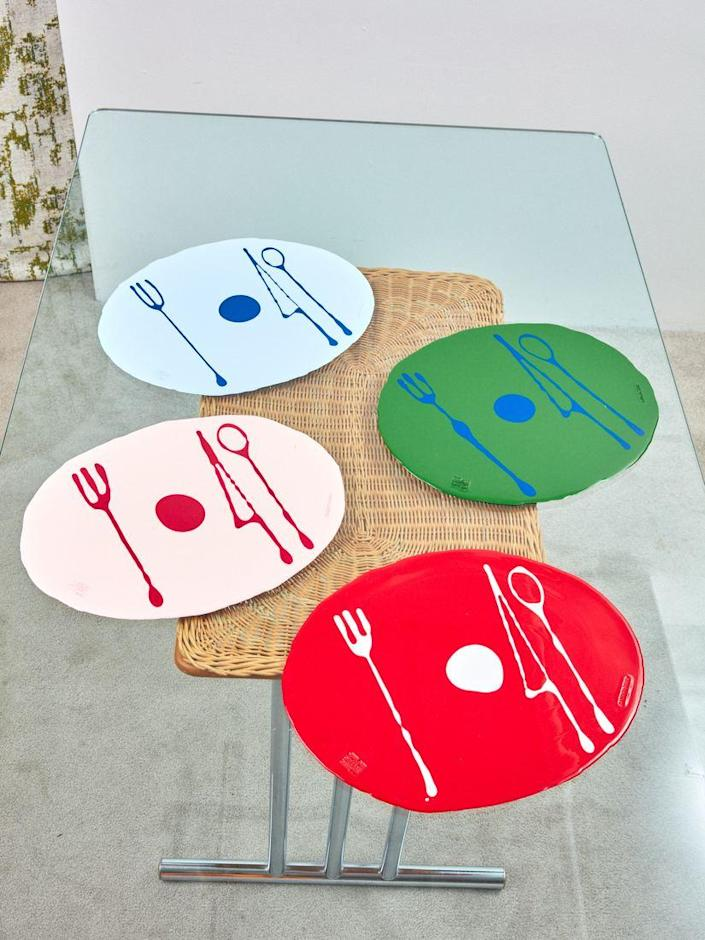 """Not only will these handcrafted Gaetano Pesce placemats add a pop of color to your table (they come in opaque or translucent options), but they will also help you remember proper table setting etiquette. Emily Post will be proud of your utensil placement. $65, Coming Soon. <a href=""""https://comingsoonnewyork.com/products/opaque-placemat"""" rel=""""nofollow noopener"""" target=""""_blank"""" data-ylk=""""slk:Get it now!"""" class=""""link rapid-noclick-resp"""">Get it now!</a>"""