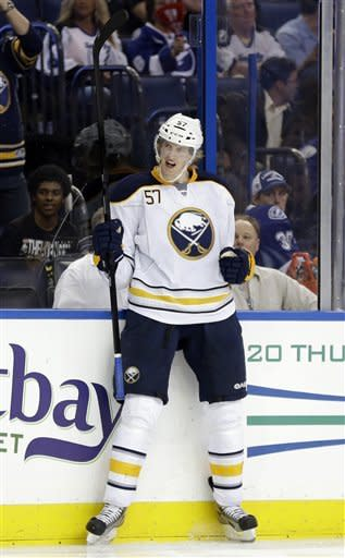 Buffalo Sabres defenseman Tyler Myers (57) celebrates his goal against the Tampa Bay Lightning during the third period of an NHL hockey game Tuesday, Feb. 26, 2013, in Tampa, Fla. The Sabres won the game 2-1. (AP Photo/Chris O'Meara)
