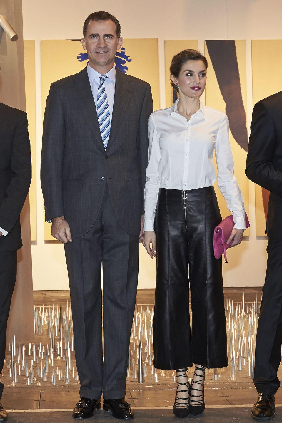<p>You read that correctly. Queen Letizia of Spain has worn pants —leather pants, to be specific — for public appearances. She's never been afraid to be a little — okay, a lot — fashion-forward. And though we're not positive exactly what hidden message she's sending, any woman who can rock leather pants like she does deserves a crown, in our humble opinions. </p>
