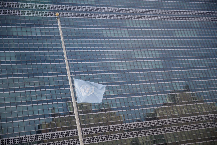 The United Nations flag flies at half staff in honor of former Secretary-General Kofi Annan at U.N. headquarters, Saturday, Aug. 18, 2018. Annan, one of the world's most celebrated diplomats and a charismatic symbol of the United Nations who rose through its ranks to become the first black African secretary-general, has died. He was 80. (AP Photo/Mary Altaffer)