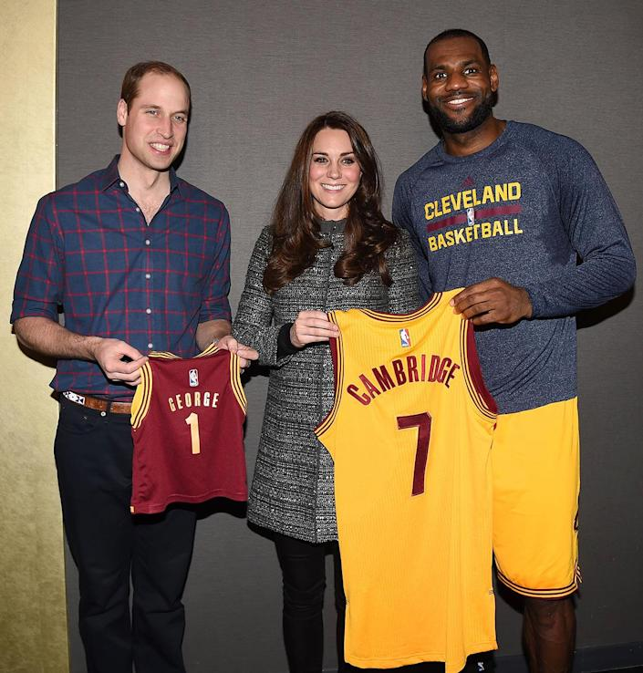 <p>The pair received a sweet gift from the Cleveland Cavaliers while at the game: personalized jerseys from star LeBron James, one for the couple that read 'Cambridge' and another for then-tiny Prince George with his name. </p>
