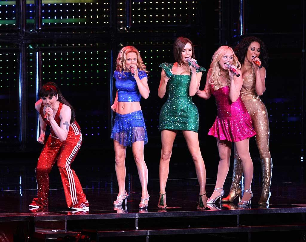 "The Spice Girls perform to a sold-out crowd at Madison Square Garden. Their farewell tour is being cut short so the girls can focus on their families. Victoria Beckham, Melanie Brown, Emma Bunton, and Geri Halliwell all have young children to care for. <a href=""http://www.splashnewsonline.com"" target=""new"">Splash News</a> - February 18, 2008"