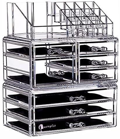 """<p>Multifunctional is the name of the game with the <a href=""""https://www.popsugar.com/buy/Cq-Acrylic-Clear-8-Drawers-Makeup-Organizer-580583?p_name=Cq%20Acrylic%20Clear%208%20Drawers%20Makeup%20Organizer&retailer=amazon.com&pid=580583&price=26&evar1=casa%3Aus&evar9=45752594&evar98=https%3A%2F%2Fwww.popsugar.com%2Fhome%2Fphoto-gallery%2F45752594%2Fimage%2F45753848%2FBeauty-Junkies&list1=amazon%2Caccessories%2Corganization%2Cstorage%20tips%2Chome%20organization&prop13=mobile&pdata=1"""" rel=""""nofollow"""" data-shoppable-link=""""1"""" target=""""_blank"""" class=""""ga-track"""" data-ga-category=""""Related"""" data-ga-label=""""https://www.amazon.com/dp/B06X426T4L/ref=dp_cerb_1"""" data-ga-action=""""In-Line Links"""">Cq Acrylic Clear 8 Drawers Makeup Organizer</a> ($26). Not only does it have slide-out panels for necklaces, but it also includes six drawers to house your other jewelry. If that wasn't enough, the top section functions as makeup storage - perfect for your most-used products.</p>"""